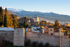 Sunset view  of  Alhambra with Sierra Nevada Royalty Free Stock Photo