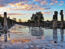 Sunset view of ancient roman city in Turkey Stock Image