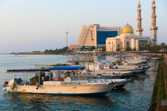 Gulf of Sharjah - Emirates. Sunset view on Arabian Gulf of Sharjah - Emirates Royalty Free Stock Photography