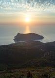 Sunset view of Assos peninsula (Greece,  Kefalonia). Stock Photos