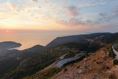 Sunset view of Assos peninsula (Greece,  Kefalonia). Royalty Free Stock Image