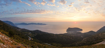 Sunset view of Assos peninsula (Greece,  Kefalonia). Stock Photo