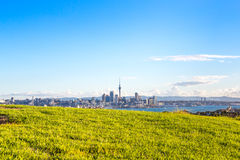 Sunset view on Auckland CBD from Devonport Stock Image