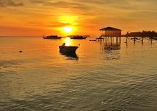 Sunset view in the Bajau`s island at Sabah of Malaysia Stock Photography