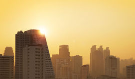 Sunset view of the Bangkok city Stock Photos