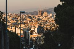 Sunset view of Barcelona skyline. stock photos