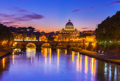 Sunset view of Basilica St Peter and river Tiber in Rome. Italy royalty free stock photos