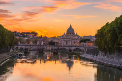 Sunset view of Basilica St Peter and river Tiber in Rome Royalty Free Stock Photos