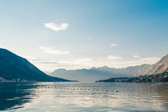 Sunset view of the Bay of Kotor. Sunset view of the of Boka-Kotor bay in Montenegro Royalty Free Stock Image