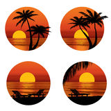 Sunset view in beach with palm tree. Tropical  resort set Stock Photography