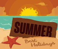 Sunset View in the Beach with Wooden Sign for Summertime, Vector Illustration Royalty Free Stock Photo