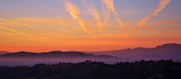 Sunset view. Beautiful sunset sky over a mountain royalty free stock image