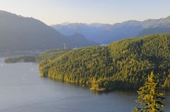 Sunset view of Belcarra Park and Burrard Inlet Royalty Free Stock Image