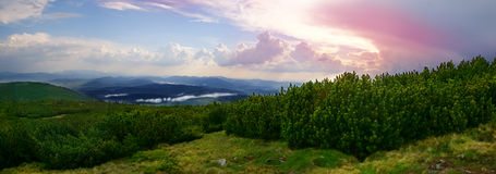 Sunset. View from Beskidy mountains Poland Royalty Free Stock Photography