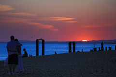 Sunset view of Brighton beach UK Royalty Free Stock Photo
