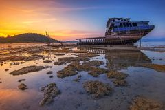 Free Sunset View Broken Ship Riau Island Wonderfull Indonesia Royalty Free Stock Photos - 113240038