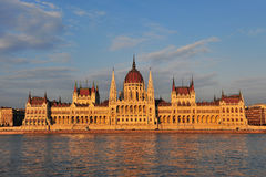 Sunset view of Budapest Parliament Stock Image