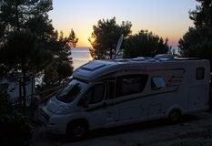 Sunset view from a camp on island Lošinj in Croatia stock photo