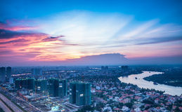 Sunset view from Cantavil District 2-HCM City Stock Images