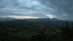 Sunset view from Castellalto, the balcony of Abruzzo region stock video footage