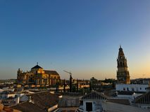 Sunset view of the cathedral in Cordoba Stock Image