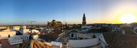 Sunset view of the cathedral in Cordoba Royalty Free Stock Photography