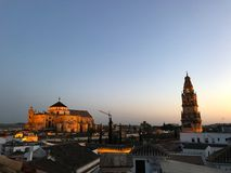 Sunset view of the cathedral in Cordoba Royalty Free Stock Images