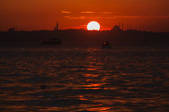 Sunset view from Cengelkoy to Istanbul Royalty Free Stock Photography