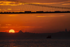 Sunset view from Cengelkoy to Istanbul Stock Photography
