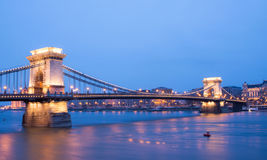 The sunset view of the Chain bridge, the Danube river and Pest s royalty free stock image