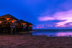 Sunset view and chalet Royalty Free Stock Images