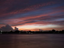 Sunset view from Chao Phraya River Stock Image