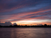 Sunset view from Chao Phraya River Royalty Free Stock Images