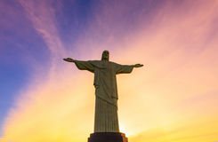 Sunset view of Christ the Redeemer in Rio de Janeiro Royalty Free Stock Image