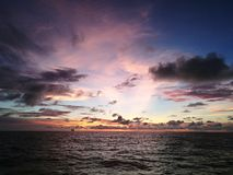 Sunset. View with cloudy sky at sea stock photo