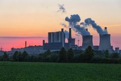 Sunset view at Coal-fired power plant in Germany stock images
