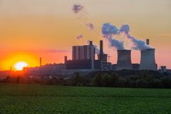 Sunset view at Coal-fired power plant in Germany stock image