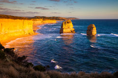 Sunset view at coast of Twelve Apostles by Great Ocean Rd Royalty Free Stock Images