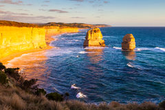 Sunset view at coast of Twelve Apostles by Great Ocean Rd Royalty Free Stock Photography