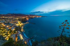 Sunset view of coastline Sorrento and Gulf of Naples, Italy. Aerial sunset view of rocky coastline Sorrento and Gulf of Naples - popular tourist destination in royalty free stock photography