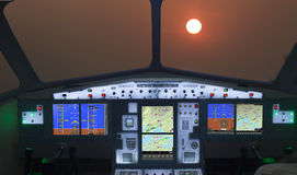Sunset view from  cockpit Stock Photo