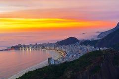 Sunset view of Copacabana beach in Rio de Janeiro Royalty Free Stock Photos