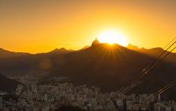 Sunset view of Corcovado and Botafogo in Rio de Janeiro Stock Photos