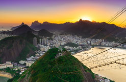 Sunset view of Corcovado and Botafogo in Rio de Janeiro Stock Photo
