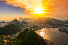 Sunset view of Corcovado and Botafogo in Rio de Janeiro Royalty Free Stock Photography