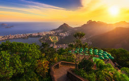 Sunset view from Corcovado of Lagoa Rodrigo de Freitas, Ipanema and Leblon in Rio de Janeiro Royalty Free Stock Photos