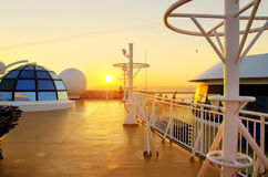 Sunset view from the deck of a cruise ship Royalty Free Stock Photos