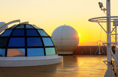 Sunset view from the deck of a cruise ship. Stock Photography