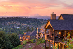 Sunset View from Deck of Luxury Homes Stock Photos