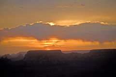 Sunset view from Desert View Point into the Grand canyon, South Stock Photos